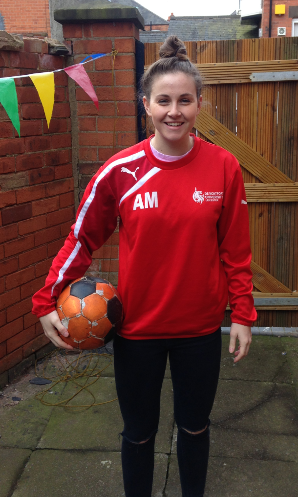 HIGH HOPES  DMU's varsity striker Amy Morris