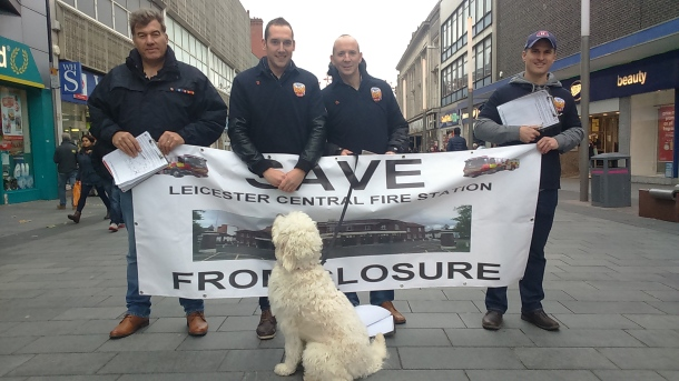 SOS: Save our station, say Leicester's fire fighters.