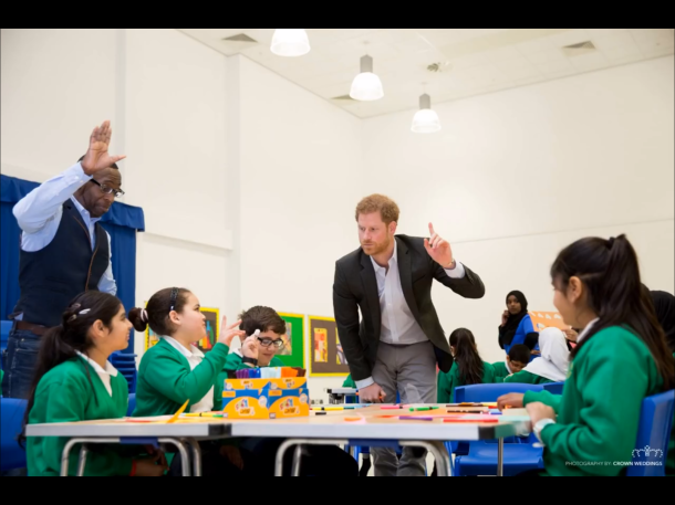 Prince Harry Participating in Activities with Year 8 Pupils of Hamilton College