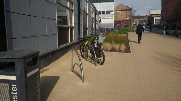 The new bike racks on Mill Lane.