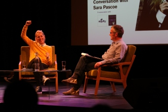 Geoff rowe with Sara Pascoe