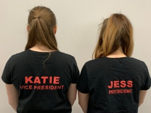 Jess and Katie with their DMU Dance Society committee tops