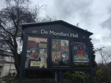De Montfort Hall sign